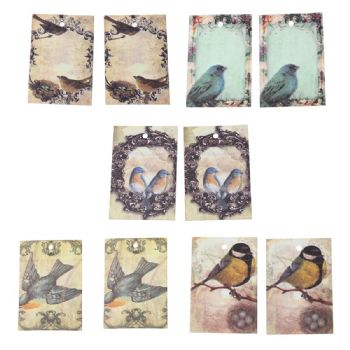Pack of 10 mixed Vintage Style Gift Tags  Bird Pattern 7cm x 6cm (1)